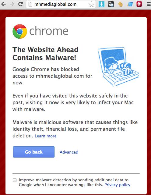 Google Chrome Malware stop page