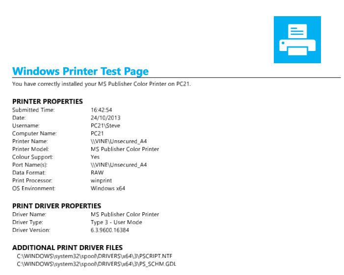 Windows Test Page Color Support No